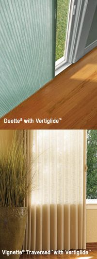 Hunter Douglas Vertiglide™ pleated shades to use with sliding patio doors. Yay.