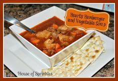 Hearty Hamburger and Vegetable Soup recipe. So tasty!   House of Sprinkles www.houseofsprinkles.com