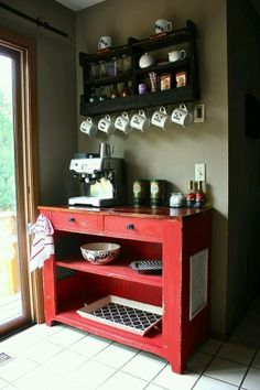 Best DIY Coffee Station Ideas For All Coffee Lovers Repurposed Cart Coffee Bar Coffee Bars In Kitchen, Coffee Bar Home, Home Coffee Stations, Coffe Bar, Coffee Wine, Coffee Mugs, Beverage Stations, Beverage Center, Coffee Barista