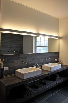 His   Her Basins + dark horizontal tiles - bathroom