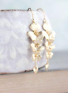 Gold Orchid Earrings, Floral Dangle Earrings, Long Gold Earrings, Bridal Jewelry, Bridesmaids Gift, Cascading Flowers, Nickel Free Earrings