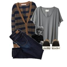 A fashion look from November 2014 featuring t shirts, v neck cardigan and skinny jeans. Browse and shop related looks.
