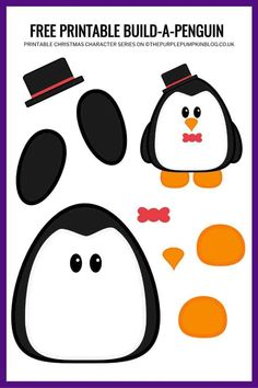 If you're looking for free printables you have come to the right place! You'll find printables for parties, organisation, vacations, and seasonal events. Printable Crafts, Printable Paper, Free Printables, Templates Printable Free, Penguin Craft, Olaf Craft, Purple Pumpkin, Christmas Characters, Christmas Crafts For Kids