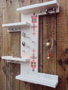 Scandinavian Design Jewelry Holder Organizer Cross Stitch by stedi