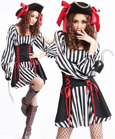 $28.50  New Stripe Somali Pirate Costume For Women