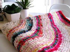 How To Make A Colourful Crochet Rag Rug With Recycled Fabrics