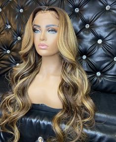 Black Girls Hairstyles, Wig Hairstyles, Pretty Hairstyles, Blonde Wig, Dark Blonde, Blonde Hair Black Girls, Blonde Honey, Honey Balayage, Blonde Ponytail