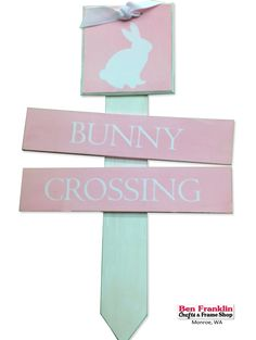 Help welcome the Easter bunny by making this Bunny Crossing Directional Sign. It's simple to make and the kids will love it! Easter Projects, Easter Crafts, Fun Crafts, Directional Signs, Diy Easter Decorations, Garden Markers, Frame Crafts, Frame Shop, Craft Stores