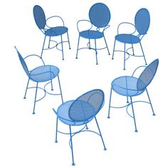 Set of 6 50s French Garden Chairs