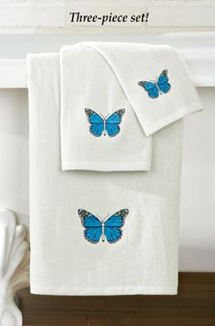 Embroidered Springtime Butterflies Towel Set - 3 pc