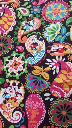 Vera Bradley Disney Midnight With Mickey Fabric 1/2 Yard