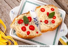 #RomanianCuisine - #Crostini with #cannellinibeans #puree and pieces of #hot #chilipepper.  #autumn / #winter #food #recipe #recipes #cuisine #cooking #culinary #gourmet #idea #ideas #royaltyfree #stockphotos via #Shutterstock