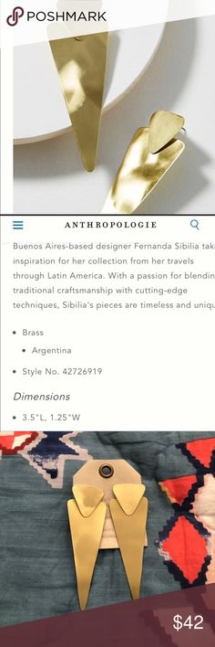 NWT Anthropologie triangle drop earrings Sibilia NWT Anthropologie earrings by Sibilia. Love the geometric design! Light weight Anthropologie Jewelry Earrings