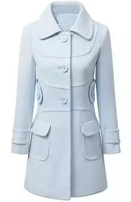Abrigo de lana bolsillos manga larga-azul