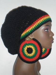 d9f82c8854a Items similar to Rasta Heritage Crochet Tam Hat Cap and Mega Earrings Black  on Etsy