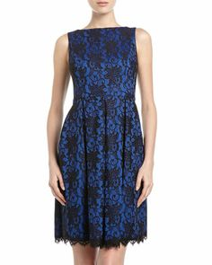 Sleeveless Lace Dress, Black/Blue by Isaac Mizrahi at Neiman Marcus Last Call.