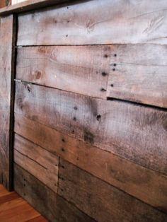 headboard made of pallet scraps