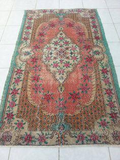 Turkish Wool Vintage Carpet, Home Living,Overdyed rug, Oushak rug, Faded rug,Oushak floor rugs, Handwoven rug, Bohemian rugs, rug, 6'6x3'9ft by Simavrug on Etsy