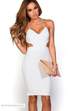 """Venus"" Crisp White Cut Out Bodycon Backless Party Dress ..."