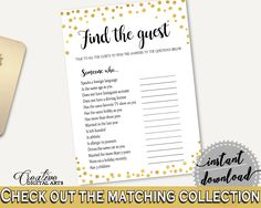 Find The Guest Bridal Shower Find The Guest Confetti Bridal Shower Find The Guest Bridal Shower Confetti Find The Guest Gold White CZXE5 #bridalshower #bride-to-be #bridetobe