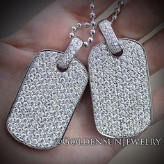 GOLDEN SUN JEWELRY: White Gold Pave set Russian Cut dog tags. Keep it clean. @goldensunjewelry #goldensunjewelry #dogtags #russincut #niketalk #whitegold #gold #stunning #diamond #diamonds #diamondpendant #diamonddogtag #designer #pendant #piece #fashion #fashionista #flawless #canttouchthis #haute #jewelry #luxury #lavish #wshh #couture #bespoke #flooded #pave #bling #detroit