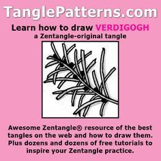 Step-by-step instructions to learn how to draw the Zentangle-original tangle pattern: Verdigogh