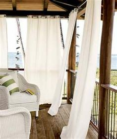 Define your outdoor patio space and make a statement with stylish outdoor curtains from Pottery Barn. Our collection includes durable outdoor drapes, made to last. Outside Curtains, Outdoor Drapes, Porch Curtains, Outdoor Rooms, Indoor Outdoor, Outdoor Living, Outdoor Decor, White Curtains, Bed Drapes