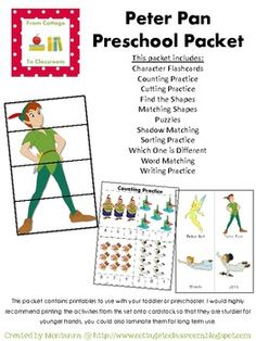 This packet contains early learning printables to use with your toddler or preschooler when learning about Peter Pan. I would highly recommend printing the activities from this set onto card-stock so that they are sturdier for younger hands, you could also laminate them for long term use. The entire packet includes character flashcards, counting practice, cutting practice, sorting practice, and writing practice. It also includes puzzles, which one id different game, shadow matching, word…