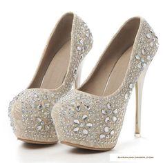 """Elegant Series"" High Heels Platform Pumps with Diamond Shoes"