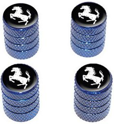 """Amazon.com : (4 Count) Cool and Custom """"Diamond Etching Horse Rearing Up Top with Easy Grip Texture"""" Tire Wheel Rim Air Valve Stem Dust Cap Seal Made of Genuine Anodized Aluminum Metal {Winter Dodge Blue and Black Colors - Hard Metal Internal Threads for Easy Application - Rust Proof - Fits For Most Cars, Trucks, SUV, RV, ATV, UTV, Motorcycle, Bicycles} : Sports & Outdoors"""