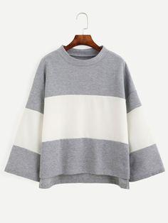 Color Block Long Sleeve Dip Hem T-shirt