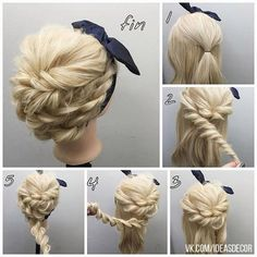 85. ROPE BRAIDS INTO BUN WITH HEAD SCARF