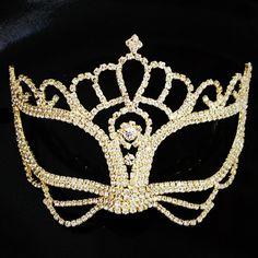 Good Rhinestone crystal masquerade mask gold frame base-party mask DIY deco mask -face mask -Halloween mask -cake topper -table setting  on Etsy, $30.00