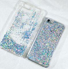 Ice Blue Liquid Glitter Transparent Case