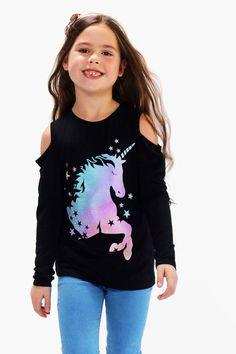 bfa752e25 Kandy Kiss Reversible-Sequin Unicorn Cold Shoulder Top, Big Girls (7 ...
