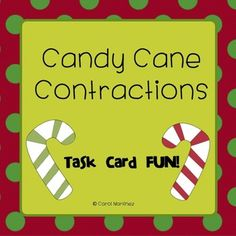 Squeeze in some learning fun into the holiday frenzy!  This set of cute Candy Cane Contractions Task Cards will be a super review of all of the basic contraction words.  Use them in your Language Arts Center, or play a round of Scoot with your students.