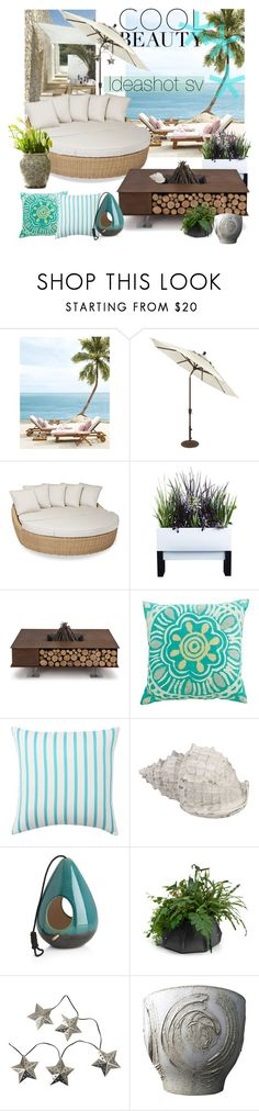 """Beach cool beauty"" by lylena-barrenechea on Polyvore featuring interior, interiors, interior design, hogar, home decor, interior decorating, Sunset West, AK47, Pottery Barn y Crate and Barrel"