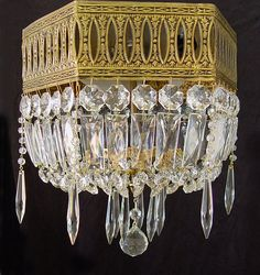 """Lighting Vintage 12""""x 12"""" BRASS and Crystal 3 Light Flush Hexagon CHANDELIER from Spain! ~ Matching sconces  in my Etsy store by SharonsChandeliers on Etsy"""