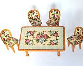 Tin Litho Toy Furniture Set Vintage 1950s Japan San Marusan Tin Litho Doll Table and Chairs, Rose Pattern Doll Furniture