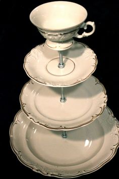 Great use of antique dishes