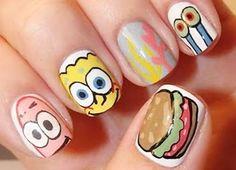 sponge bob funny nails, cute manicure