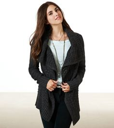 AE SHINE KNIT OPEN CARDIGAN CHACOAL SMALL