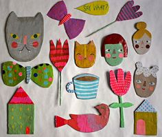 menagerie! a collection of paper mache wall plaques i just completed.