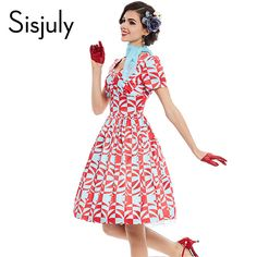 Sisjuly vintage dress 1950s style spring summer rockabilly women party geometric dress 2017 elegant female cute vintage dresses