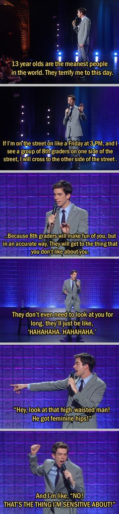 John Mulaney is great, very funny. I watch his shows a lot Stupid Funny, Haha Funny, Hilarious, Funny Stuff, Random Stuff, Funny Things, John Mulaney, Funny Quotes, Funny Memes