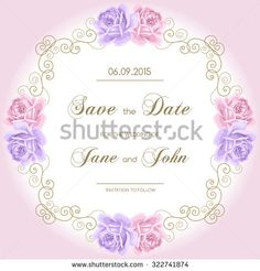 Vintage wedding invitation with roses. Invitation template with gold curling frame. Save the date design. Vector illustration - stock vector