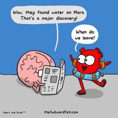 Nick Seluk's popular webcomic Heart and Brain brilliantly observes the struggles we all face when dealing with intellectual versus emotional responses. You'll adore Seluk's characters. Visit Seluk's website The Awkward Yeti for more Heart and Brain and other comics like it.