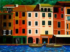 Beautiful painting of Portofino harbour, Italy,. Beautiful Paintings, Portofino Italy, Multi Story Building, Walls, Mansions, House Styles, Projects, Posters, Design
