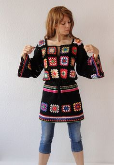 Crochet dress tunic hippie jumper sweater cardigan patchwork retro glamour-flower power vintage look-handmade crochet design- made to order. $405.00, via Etsy.