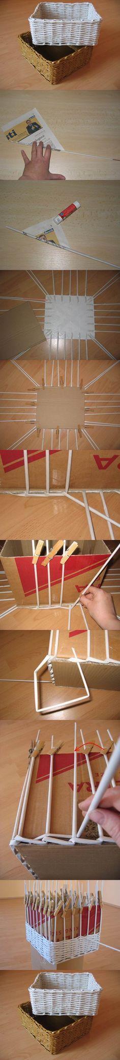 DIY Woven Paper Storage Box | iCreativeIdeas.com Follow Us on Facebook --> https://www.facebook.com/icreativeideas